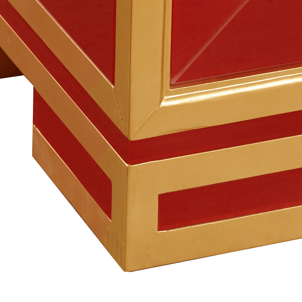 Accentrics Home - Two Door Wine and Gold Glass Chest