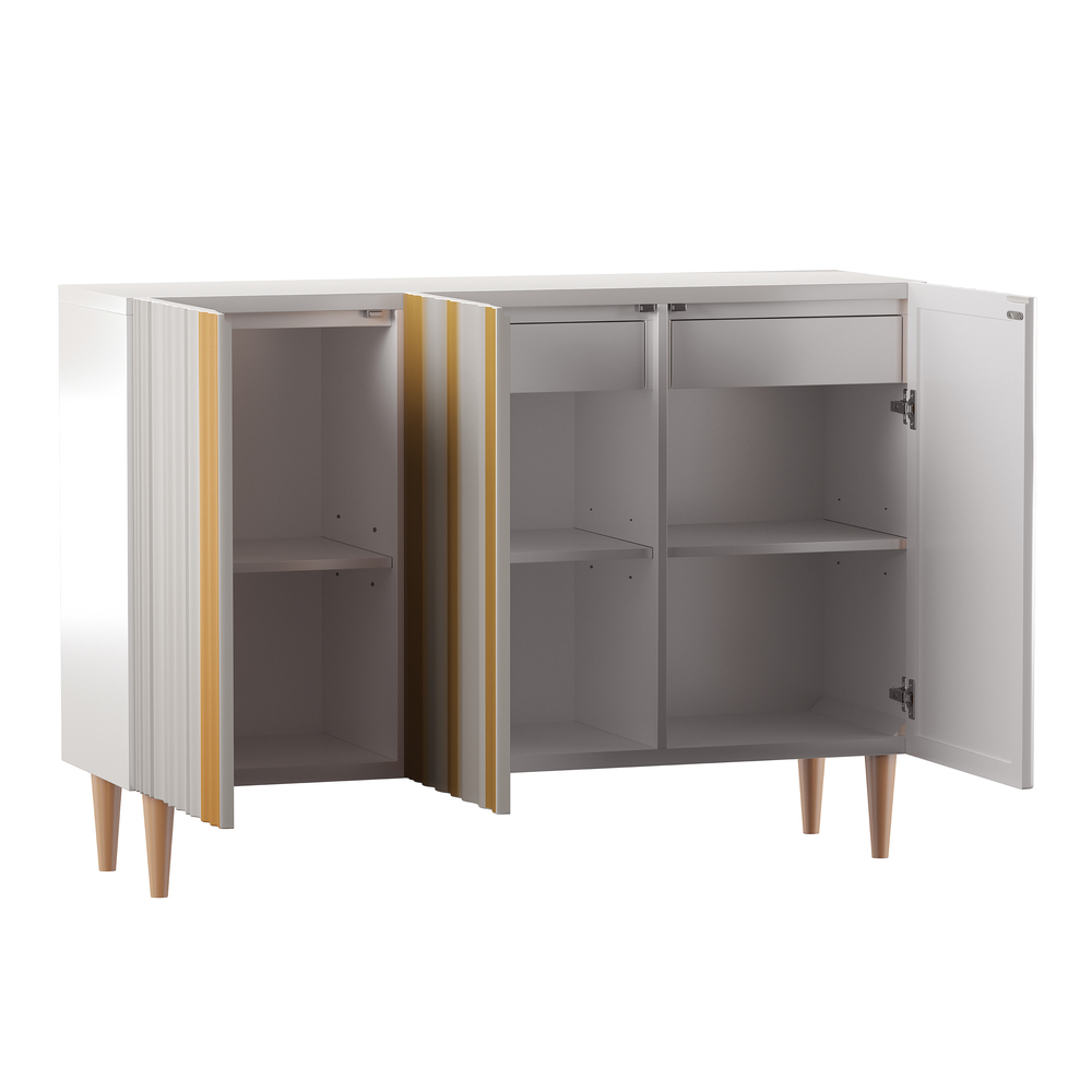 Accentrics Home - Two Door Silver and Gold Console