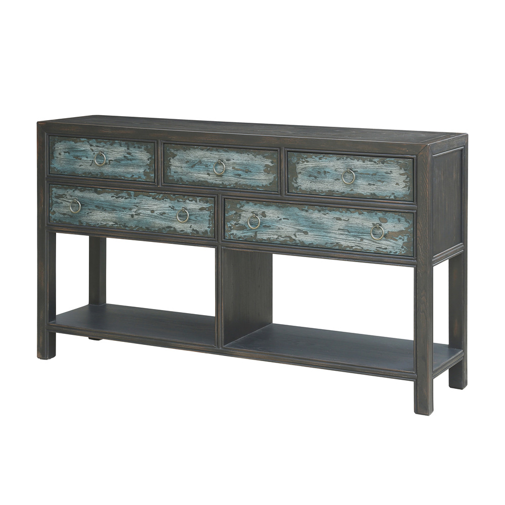 Accentrics Home - Five Drawer Two-Tone Console