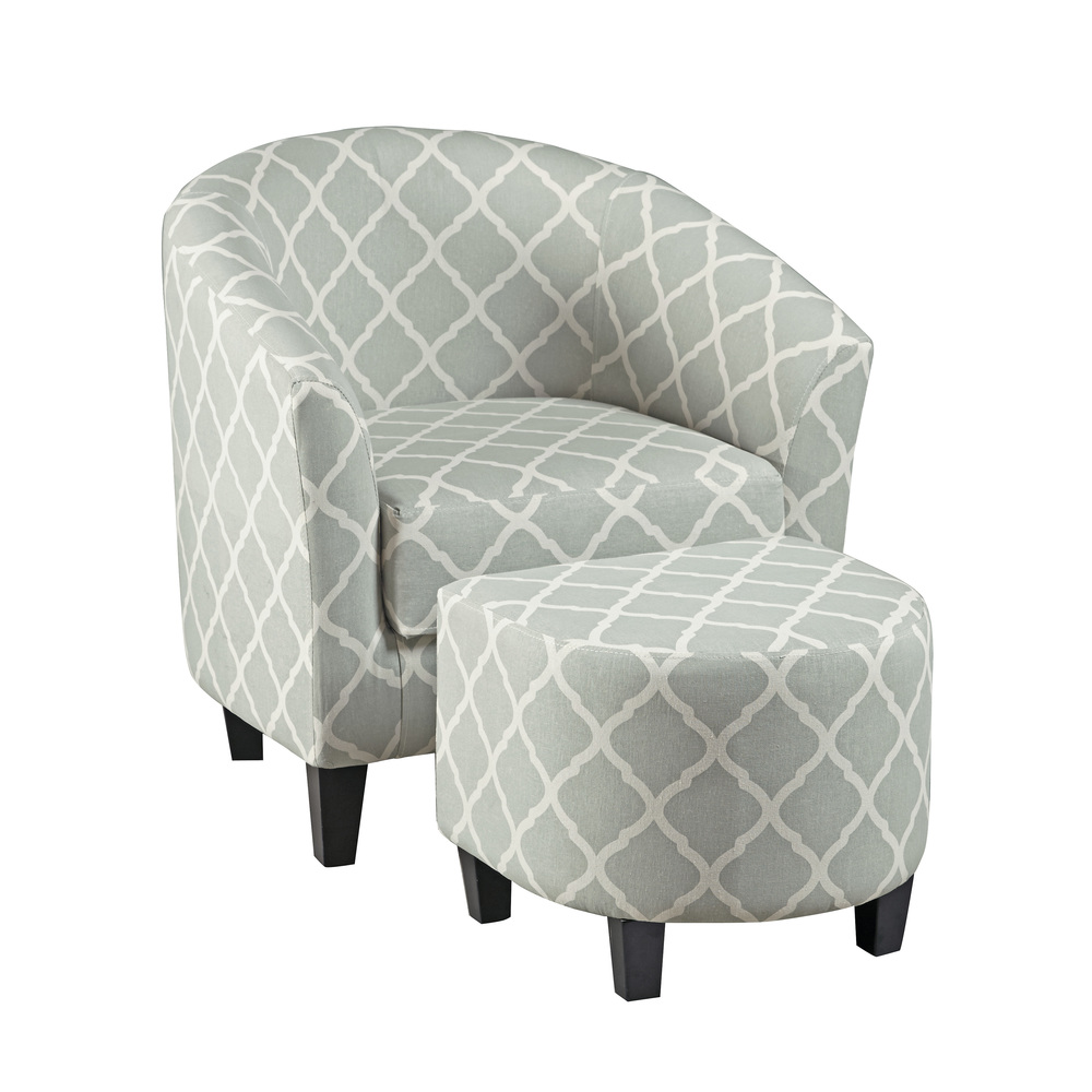 Accentrics Home - Barrel Accent Chair and Ottoman