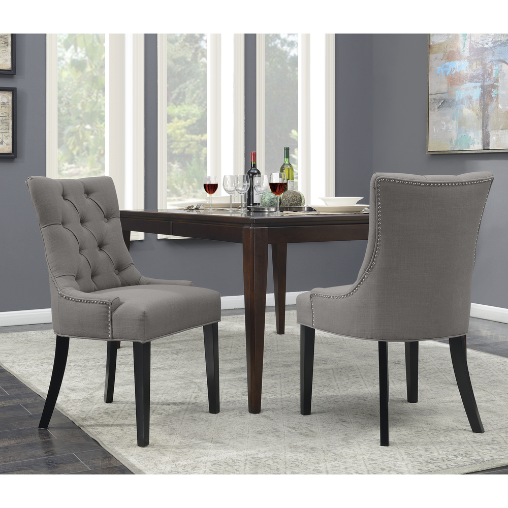 Accentrics Home - Grey Button Tufted Dining Chair