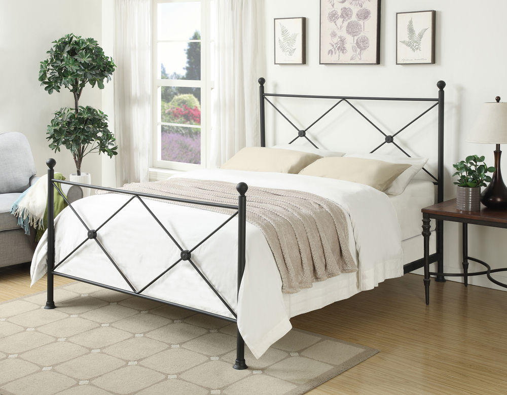 Accentrics Home - Queen All-in-One Black Metal Bed