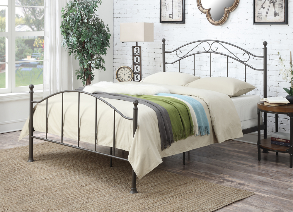 Accentrics Home - Queen All-in-One Scroll Metal Bed