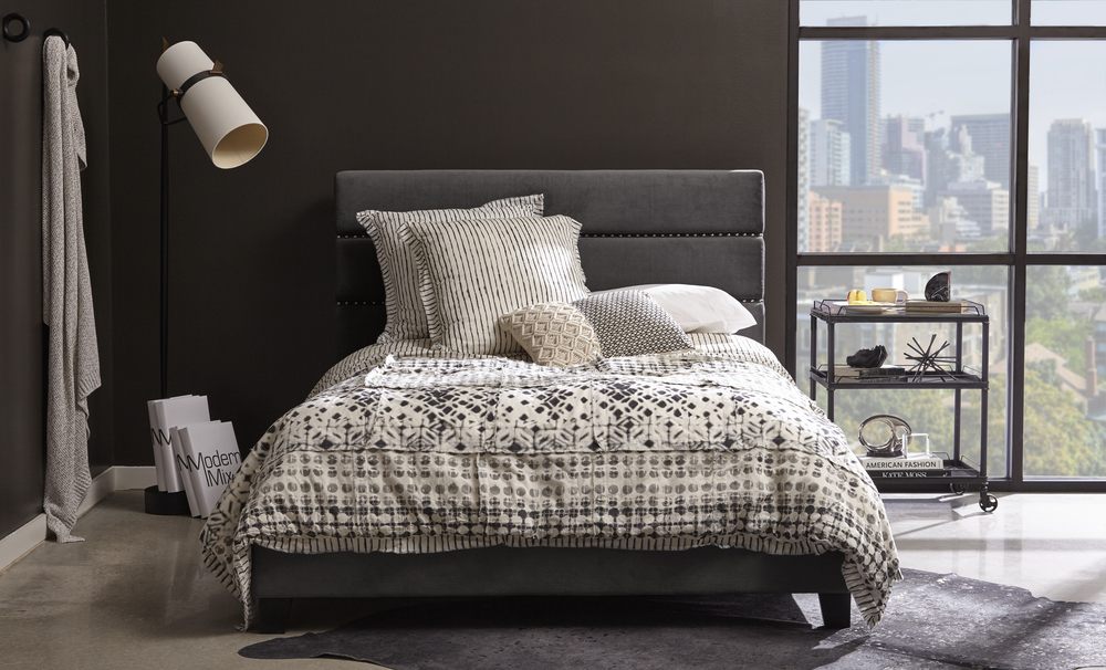 Accentrics Home - Queen All-in-One Horizontally Channeled Upholstered Bed