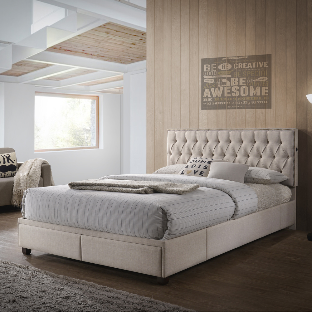 Accentrics Home - Queen USB Charging Storage Bed