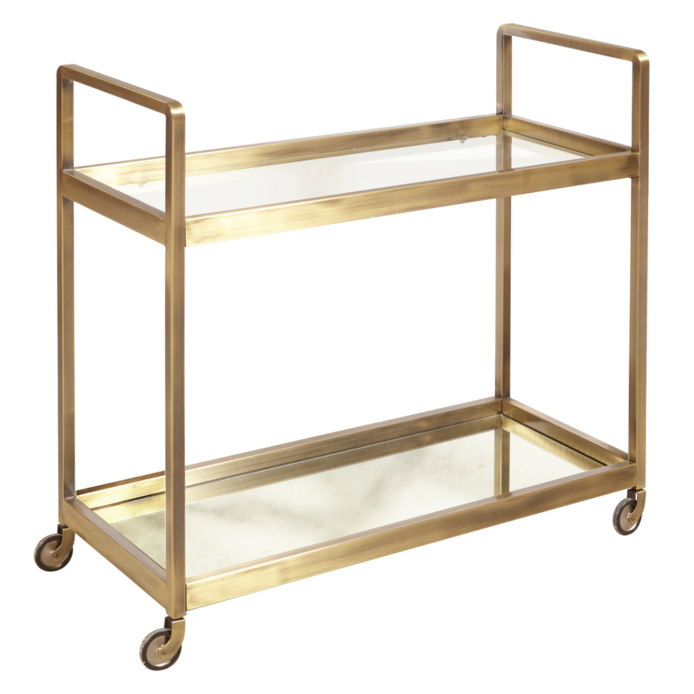Accentrics Home - Brushed Gold and Glass Bar Cart