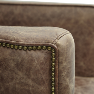 Thumbnail of Accentrics Home - Wood Base Channeled Leather Chair