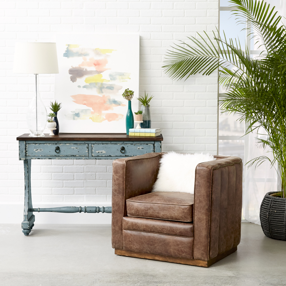 Accentrics Home - Wood Base Channeled Leather Chair