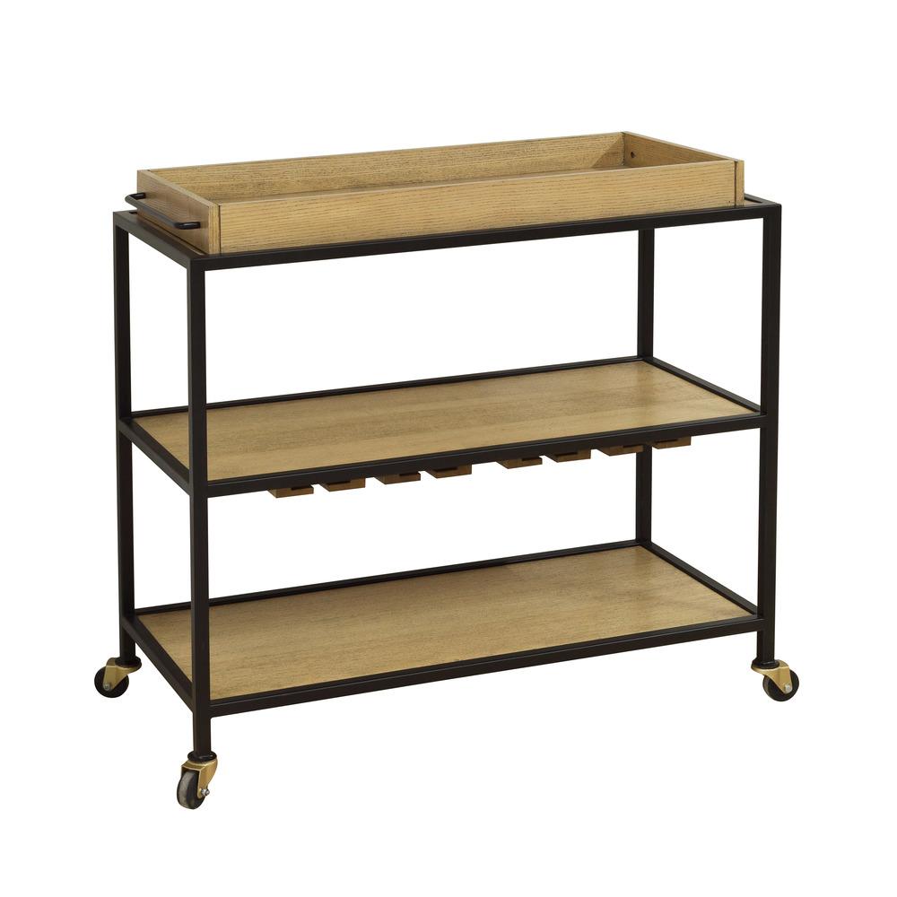 Accentrics Home - Light Oak and Iron Bar Cart