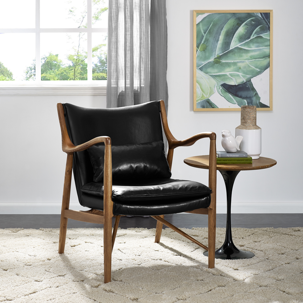 Accentrics Home - Wood Frame Leather Sling Chair