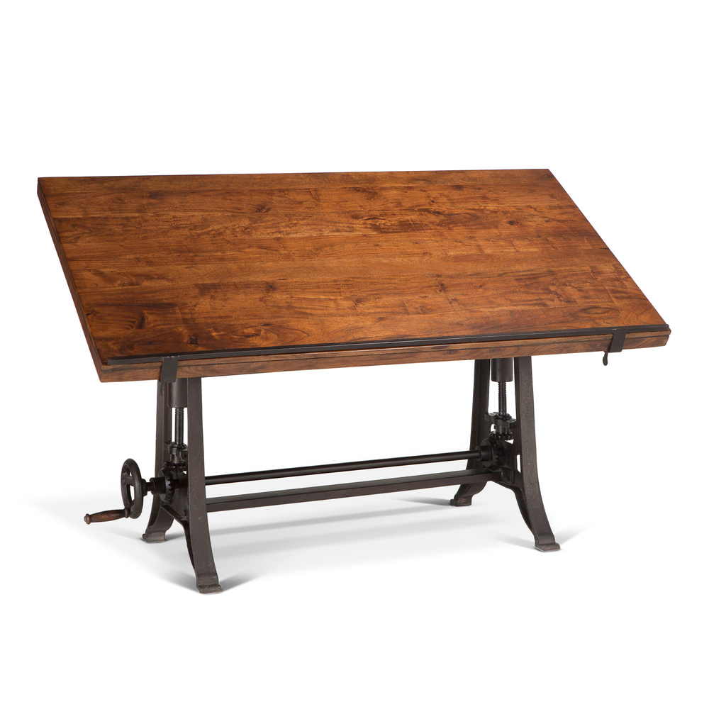 "Home Trends & Design - Industrial Loft Drafting Desk 62"" Walnut"