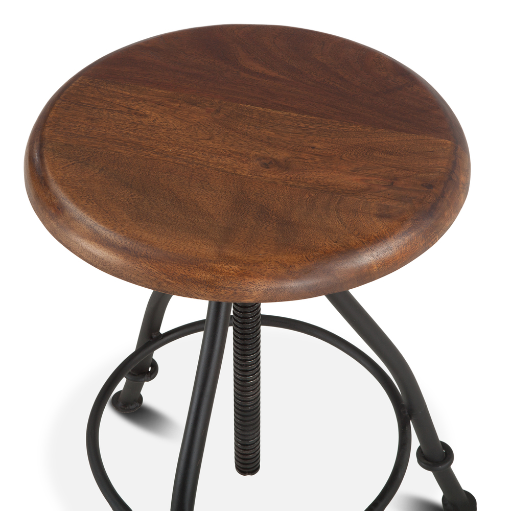 Home Trends & Design - Industrial Loft Stool with Walnut Top