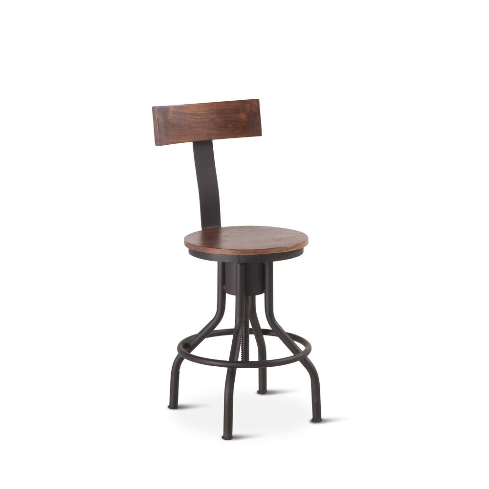 "Home Trends & Design - Industrial Modern Adjusting Chair 18"" Walnut"