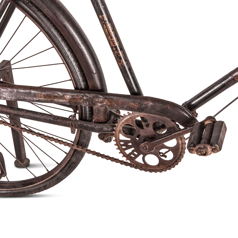 Home Trends & Design - Industrial Teak Bicycle Console