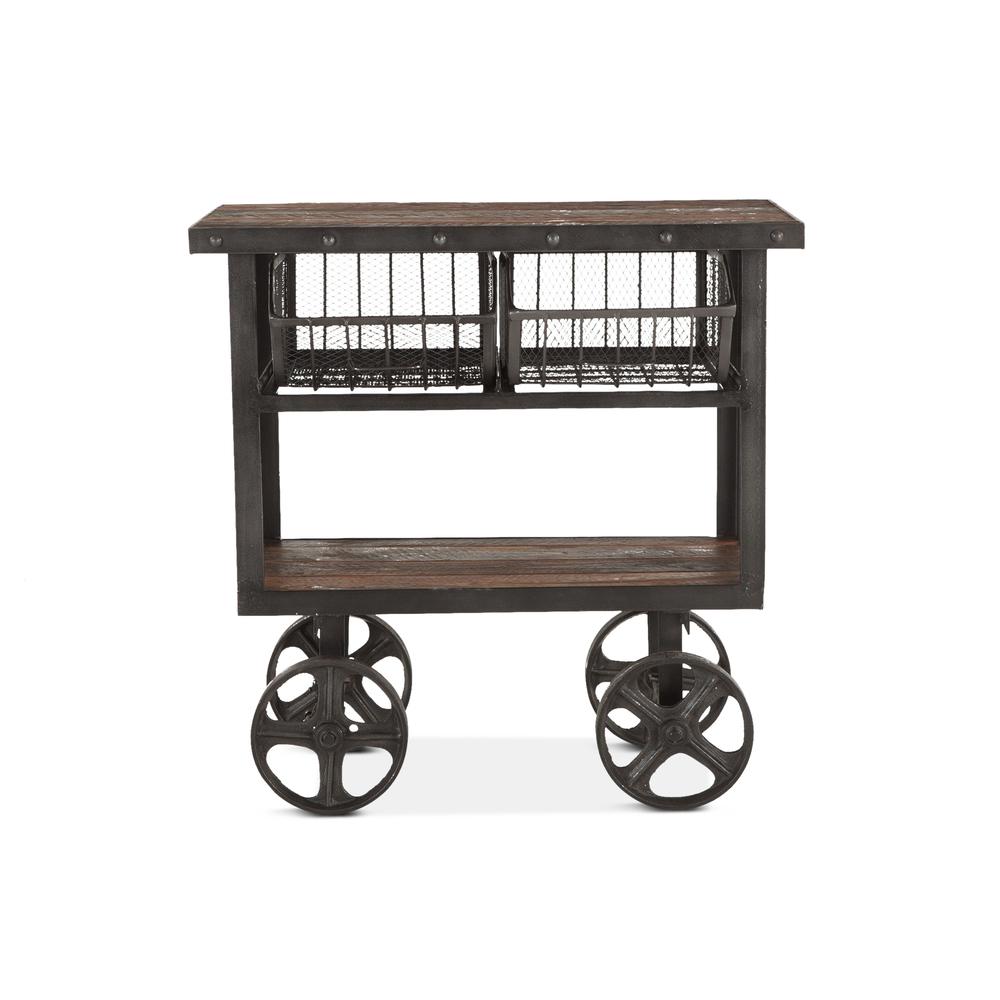"Home Trends & Design - Industrial Teak Cart Table 36"""