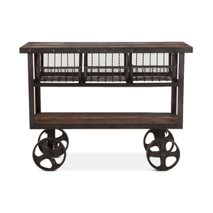 """Thumbnail of Home Trends & Design - Industrial Teak Cart Table 48"""""""