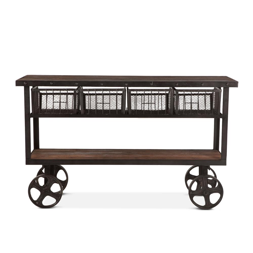 "Home Trends & Design - Industrial Teak Cart Table 60"""