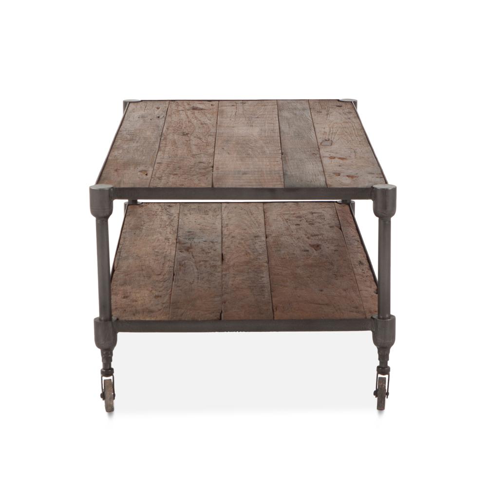"Home Trends & Design - Industrial Teak Coffee Table 48"""