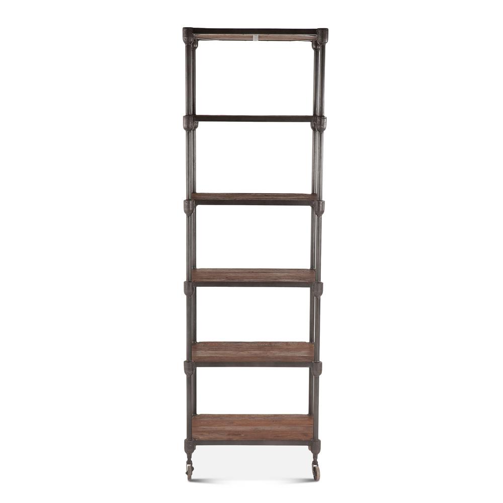 "Home Trends & Design - Industrial Teak Bookshelf Wheeled 80"""