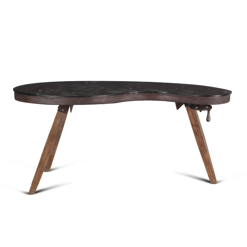 "Home Trends & Design - Steampunk Glass Office Desk 67"""
