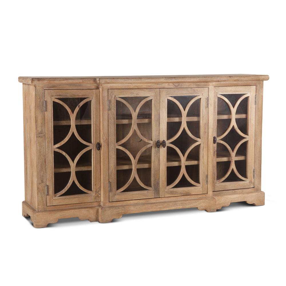 "Home Trends & Design - San Rafael Glass Cabinet 75"" Antique Oak"