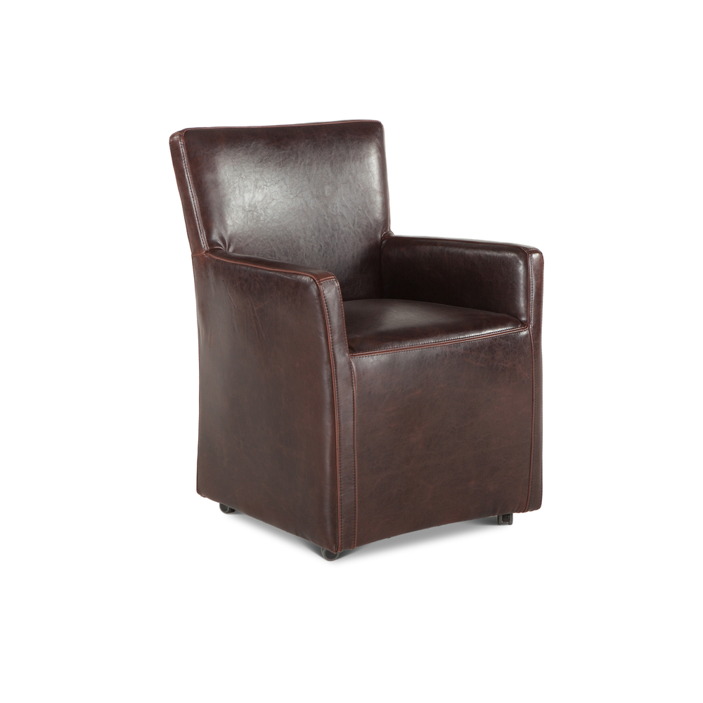 Home Trends & Design - Peabody Leather Dining Arm Chair