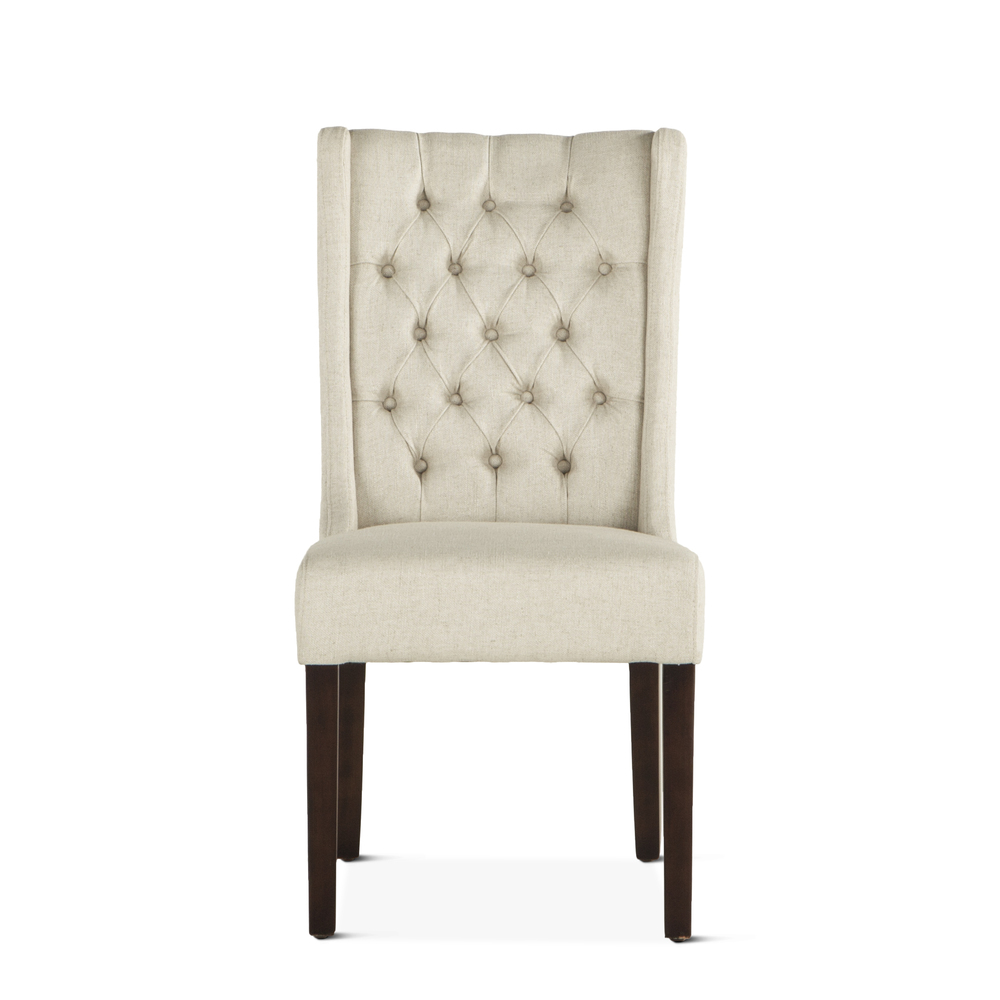 Home Trends & Design - Lara Dining Chair Off-White with Dark Legs