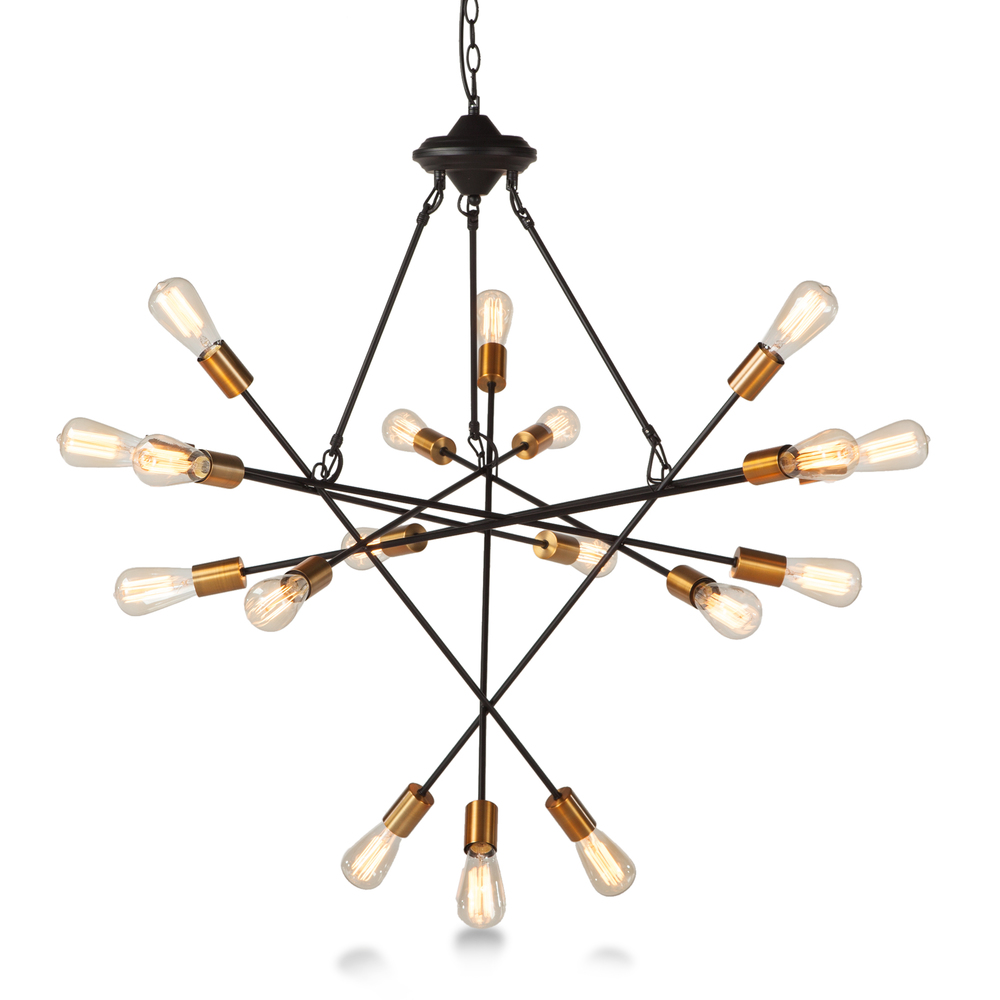Home Trends & Design - Luminaire Black and Gold 18-light Chandelier