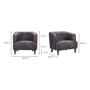 Thumbnail of MOE'S HOME COLLECTION - Magdelan Tufted Leather Arm Chair