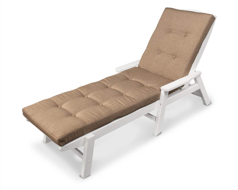 Polywood - Nautical Chaise with Arms and Ateeva Luxe Cushion