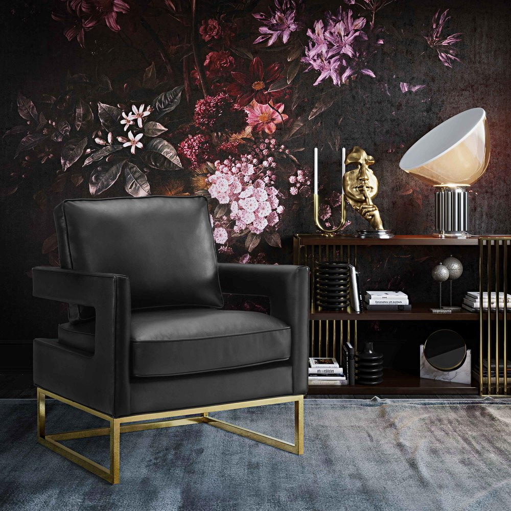 TOV Furniture - Avery Black Leather Chair