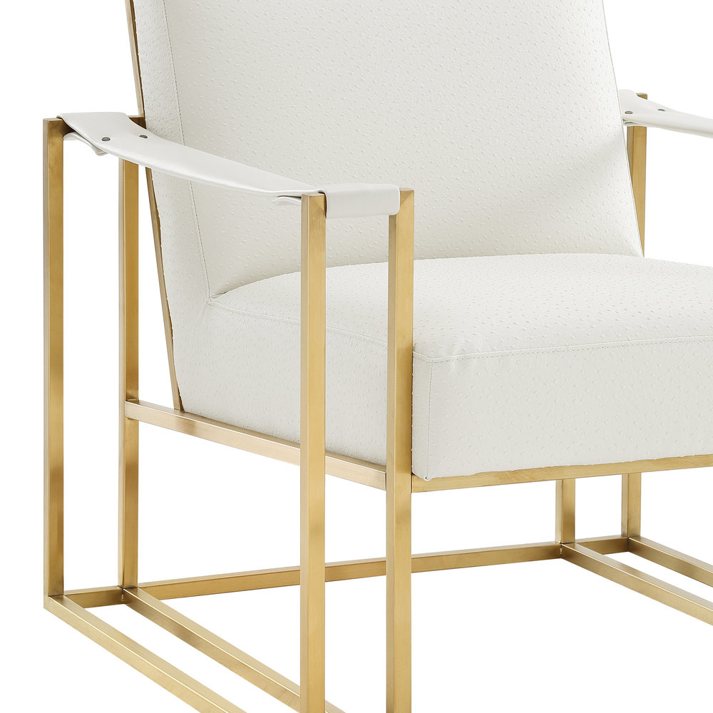 TOV Furniture - Baxter Ostrich Print Chair in Cream with Gold Base