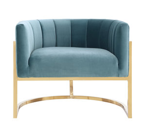 Thumbnail of TOV Furniture - Magnolia Sea Blue Chair with Gold Base
