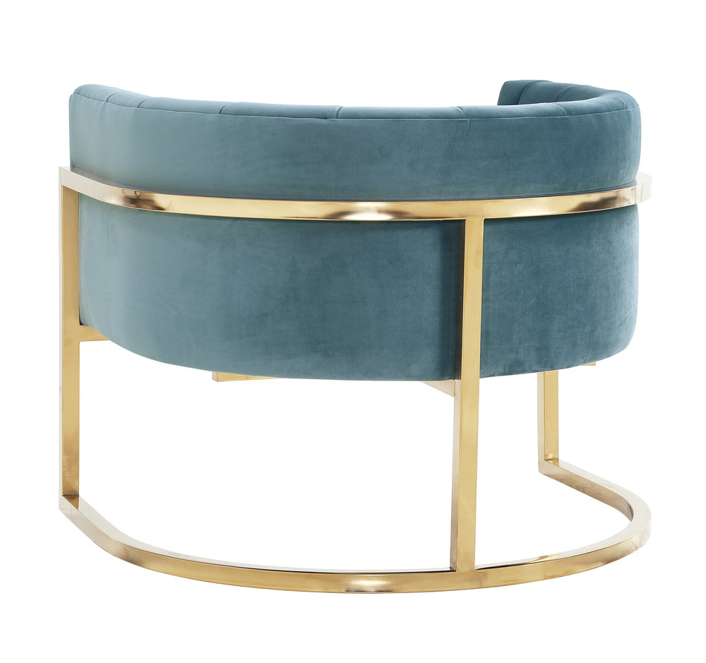 TOV Furniture - Magnolia Sea Blue Chair with Gold Base