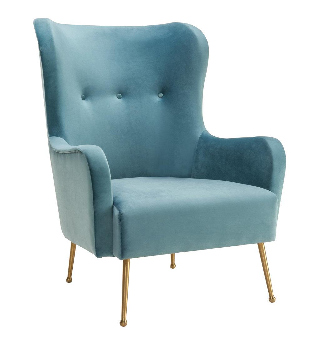 TOV Furniture - Ethan Sea Blue Velvet Chair