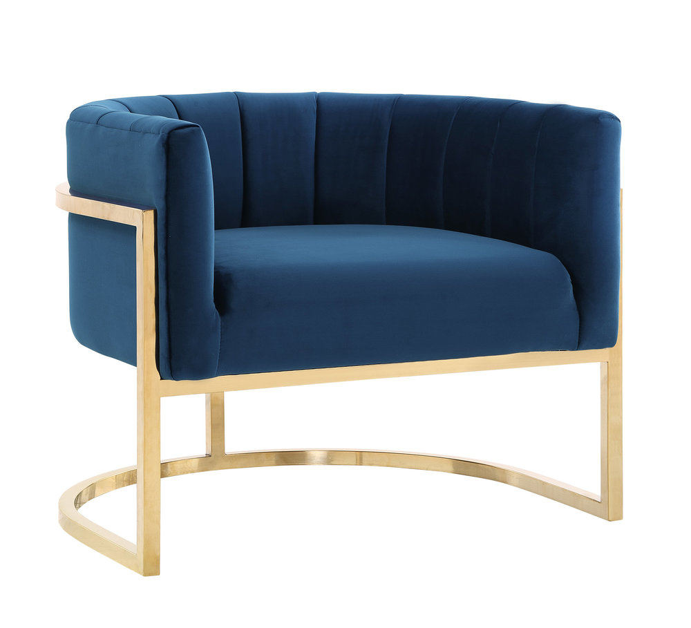TOV Furniture - Magnolia Navy Chair with Gold Base