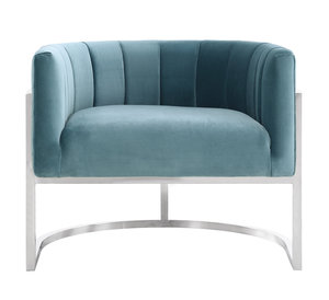 Thumbnail of TOV Furniture - Magnolia Sea Blue Chair with Silver Base
