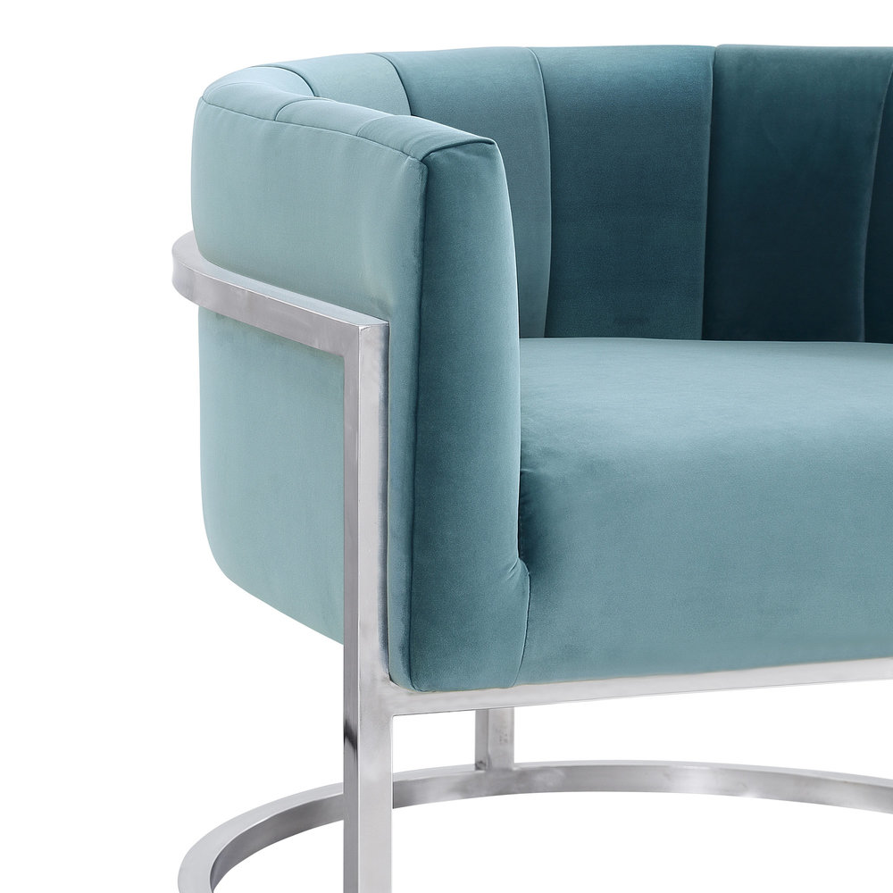 TOV Furniture - Magnolia Sea Blue Chair with Silver Base