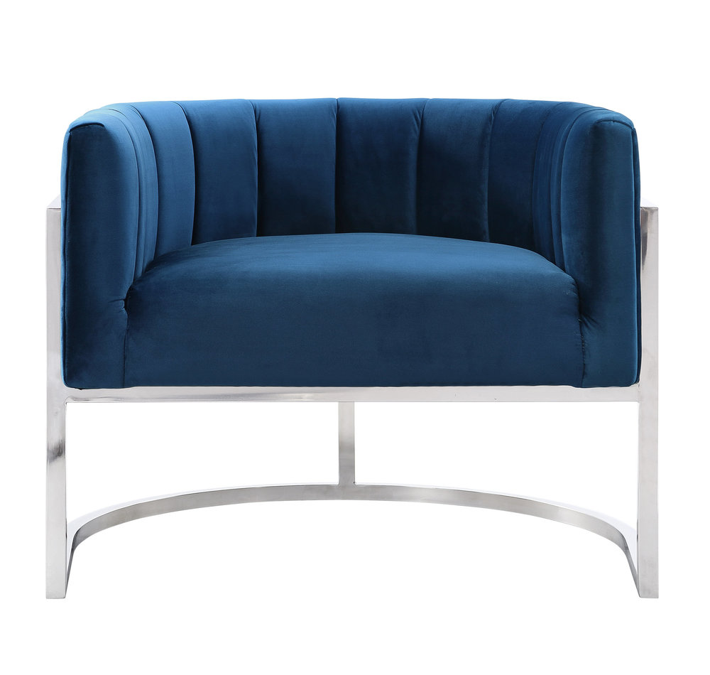 TOV Furniture - Magnolia Navy Chair with Silver Base