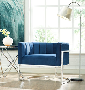 Thumbnail of TOV Furniture - Magnolia Navy Chair with Silver Base