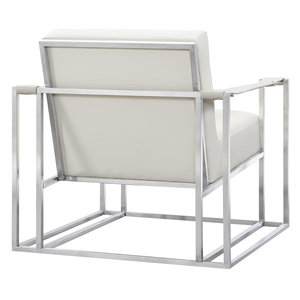 Thumbnail of TOV Furniture - Baxter Ostrich Print Chair in Cream with Silver Base