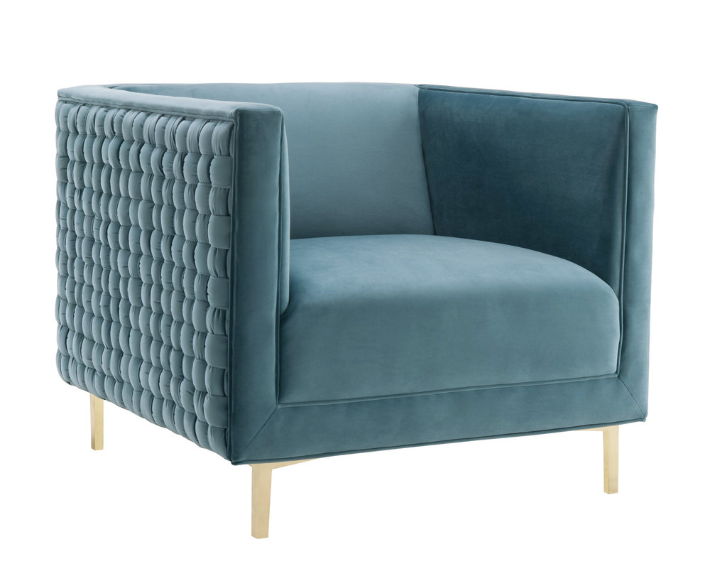TOV Furniture - Sal Sea Blue Woven Chair