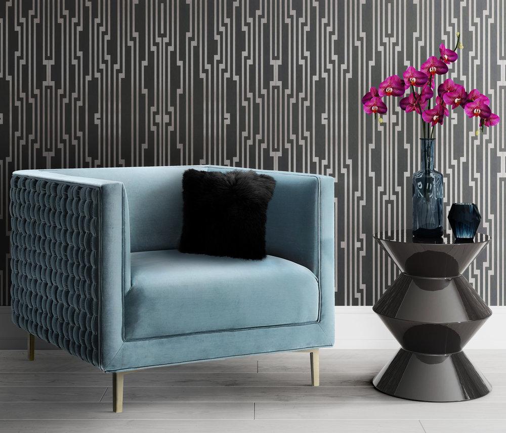 TOV Furniture - Sal Sea Blue Woven Chair