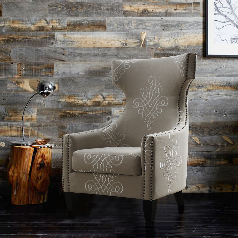 TOV Furniture - Gramercy Embroidered Linen Wing Chair