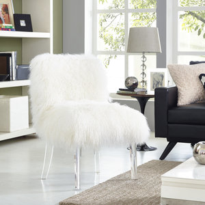 Thumbnail of TOV Furniture - Sophie White Sheepskin Lucite Chair