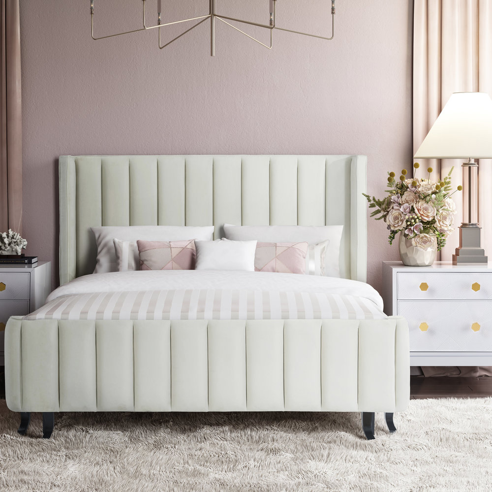 TOV Furniture - Waverly Cream Velvet Bed in Queen