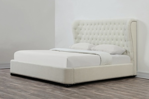 Thumbnail of TOV Furniture - Finley Beige Linen Bed