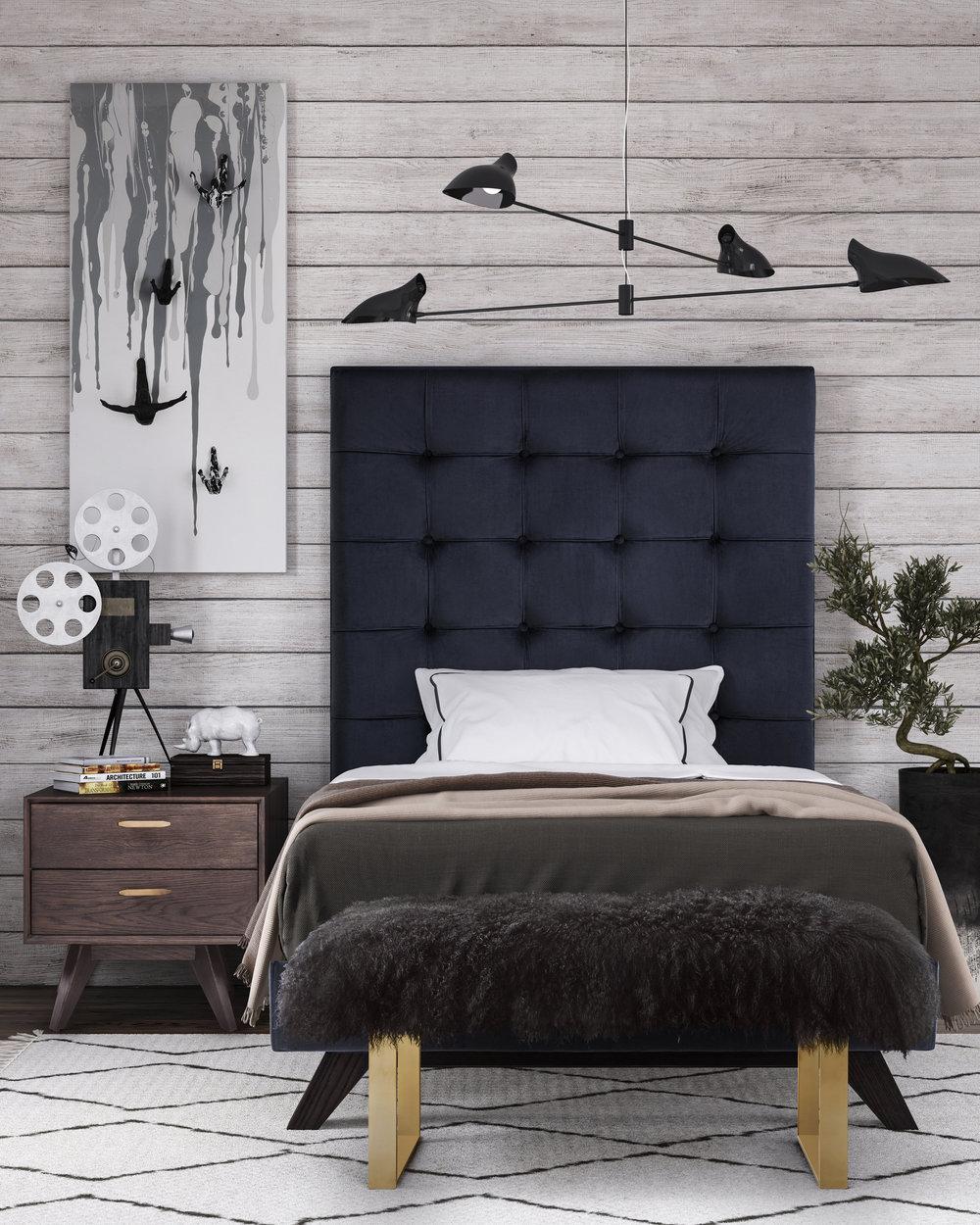 TOV Furniture - Eden Grey Velvet Bed