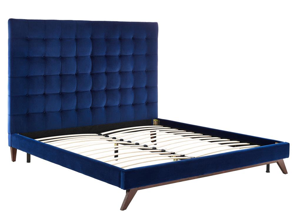 TOV Furniture - Eden Navy Velvet Bed in Queen Size