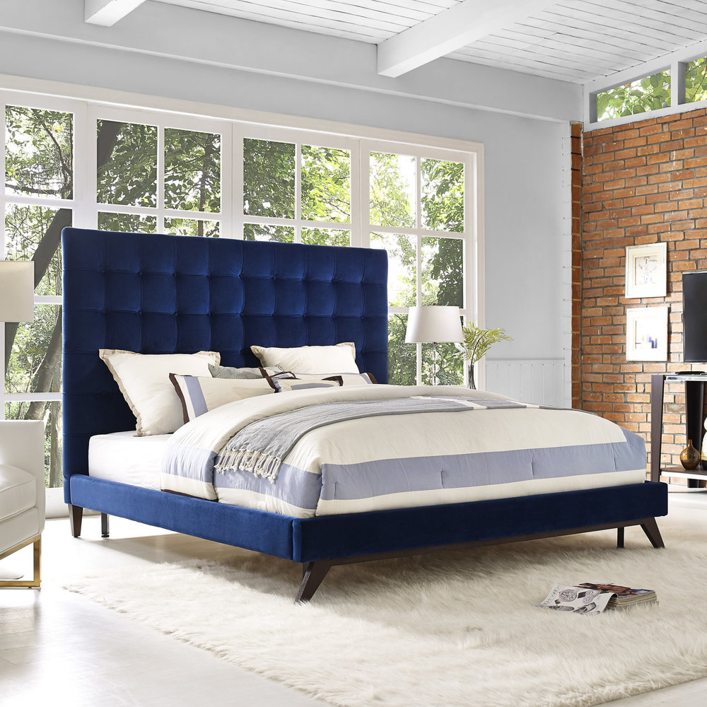 TOV Furniture - Eden Navy Velvet Bed in Queen Size